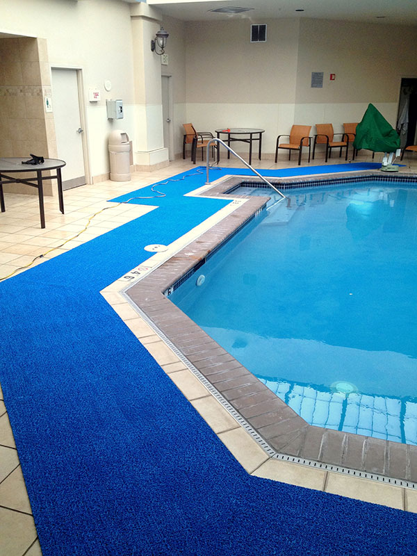PEM Light Weight Aquatic Matting used as Runners Poolside