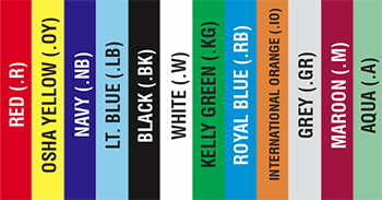Color options for All-Weather Easy Stack fiberglass benches. Twelve standard colors.
