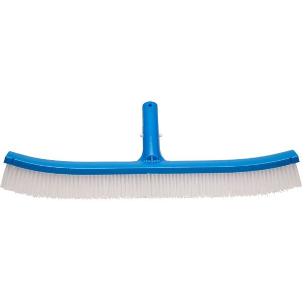 "18"" economy swimming pool wall brush with curved ends and polypropylene bristles."