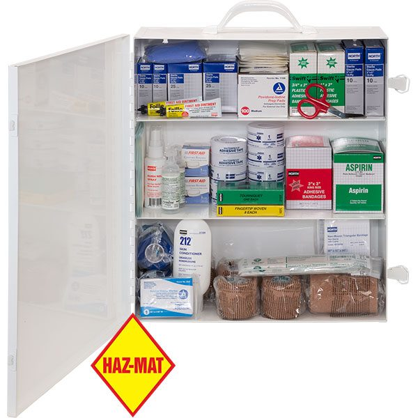 Deluxe bulk first aid kit has supplies for up to 100 people.