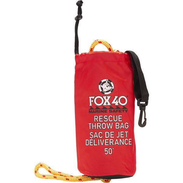 Fox 40 red rescue throw bag with 50' floating polypropylene rope.