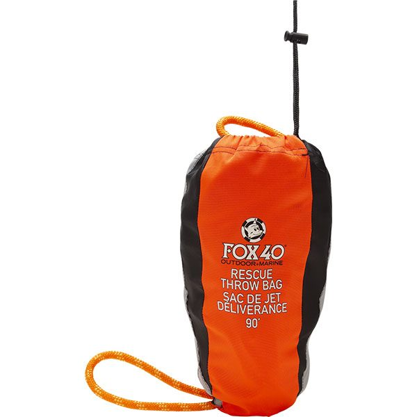 Fox 40 orange rescue throw bag with 90' floating polypropylene rope.