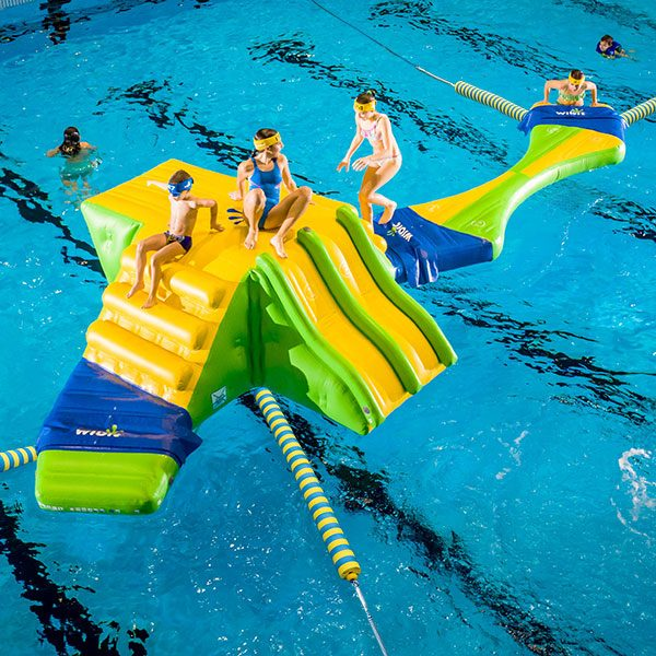 Wibit Sports KidsRun standard combination pool inflatable obstacle course.