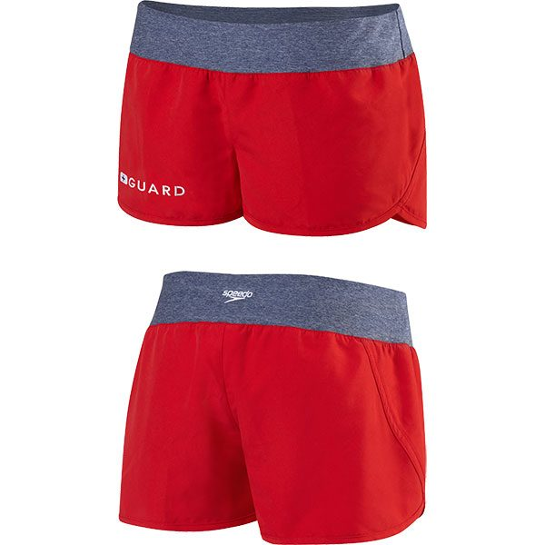 Speedo's women's guard swim short with waistband is made of loose fit 100% brushed polyester microfiber.