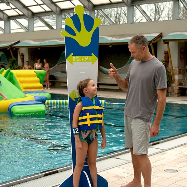 Wibit height KidScale measures users for Kids pool inflatable products.