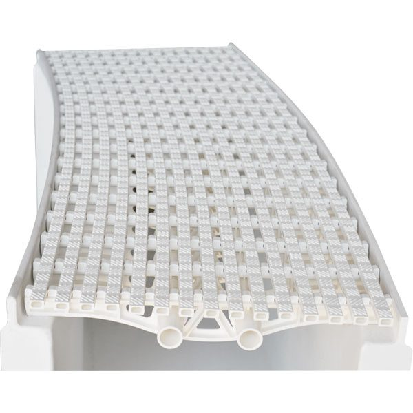 Daldorado SILENTFlow parallel radius PVC commercial swimming pool grating systems.