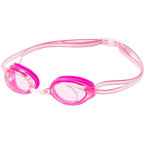 Speedo's Junior Vanquisher low profile mirrored goggle for smaller faces in pink.