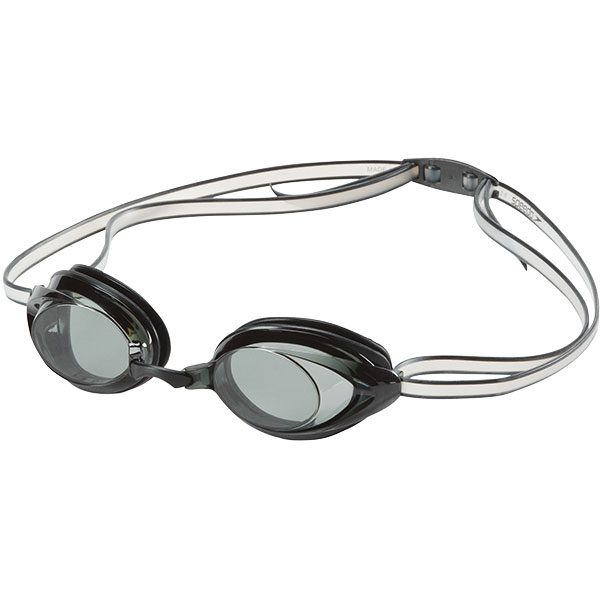 Speedo's Junior Vanquisher low profile mirrored goggle for smaller faces in smoke.