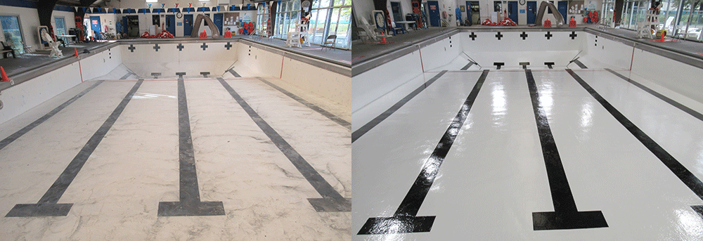 Commercial swimming pool before and after painting with Olympic swimming pool paints