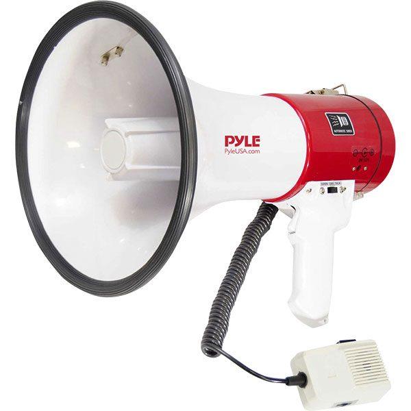 Battery powered , 50 watt megaphone has a range of 1,700 yards.