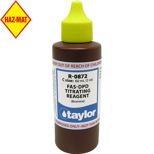 Taylor Swimming Pool Replacement Test Reagent R-0872-c FAS-DPD Titrating Bromine - 2.0 oz