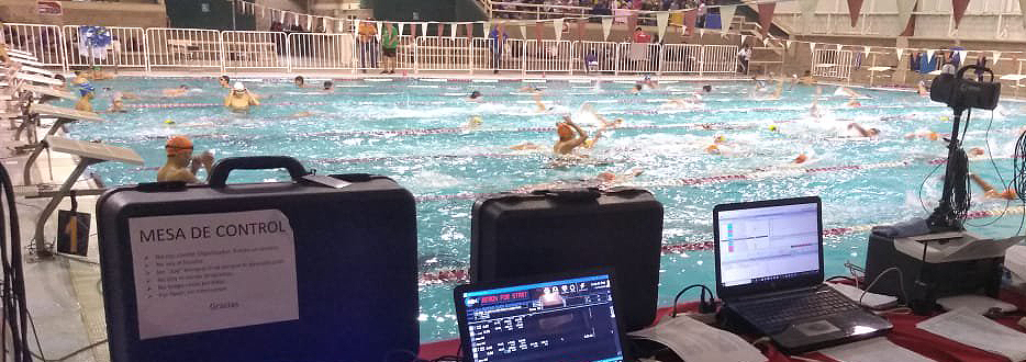 Infinity Start System integrated with other equipment at swim meet.