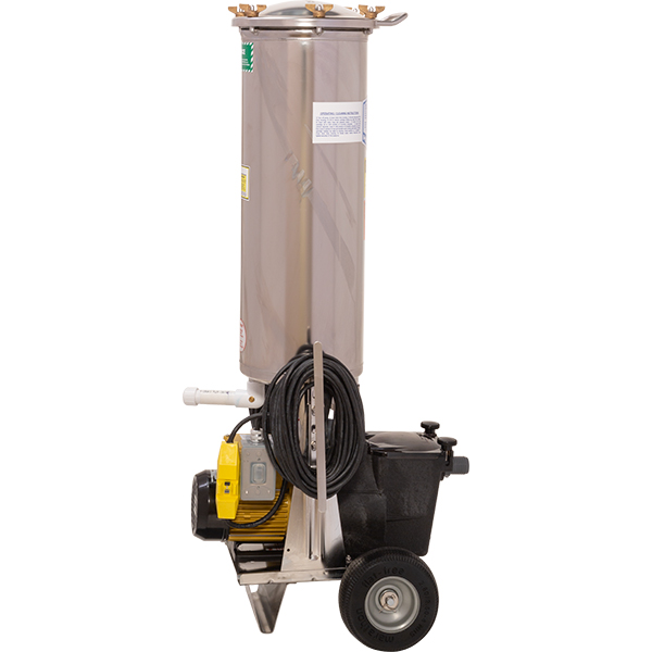1 H.P. portable swimming pool vacuum filter recycles over 5,525 gallons per hour and features 155 square foot stainless steel cartridge filter.