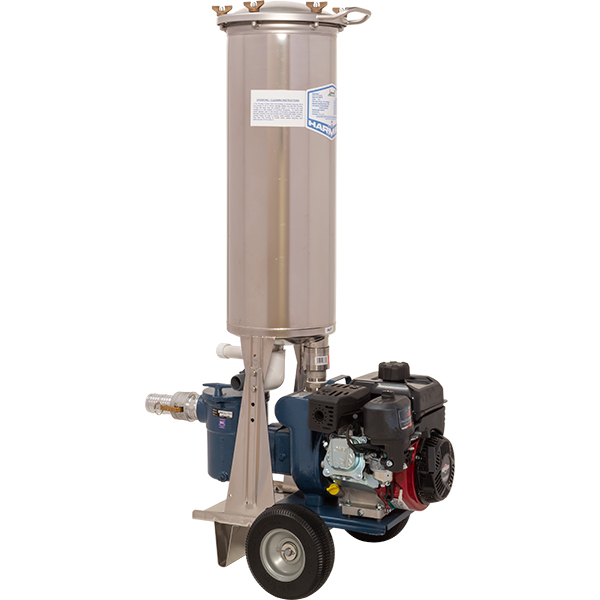 Gas driven 3 H.P. portable pool vacuum filter is for outdoor pools. Recycles over 9,000 gallons per hour. 155 square foot stainless steel cartridge filter.