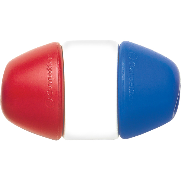 """Competitor Swim's red-white-blue 5"""" x 9"""" EZ-LOCK float self-locking pool rope float with a twist lock design fits 3⁄8"""", 1⁄2"""" and 3⁄4"""" ropes. Made of linear polyethylene and treated with LifeSpan+"""