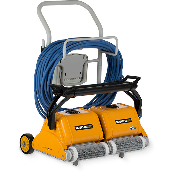 Maytronics WAVE 120 robotic commercial swimming pool cleaner is for large pools up to 121 feet, put the power of two robots to work at once.