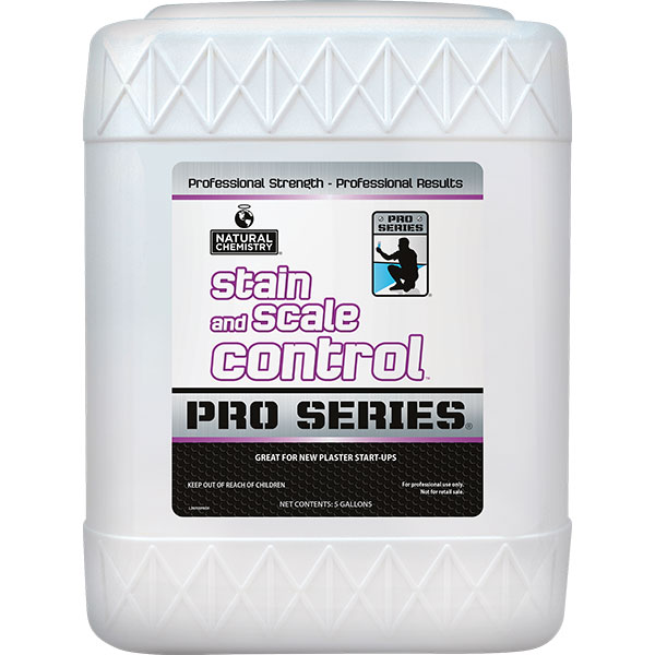Natural Chemistry's PRO SERIES Stain & Scale Control protects pools from damaging scale buildup and staining due to excessive minerals in the water.