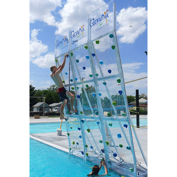 AquaClimb's Krystal Pool Climbing Wall 3 panel high, 1 wide has clear climbing panels allowing more light, higher visibility.